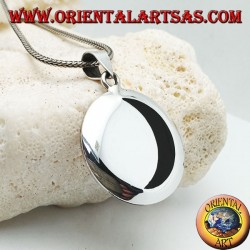 Smooth silver medallion pendant with onyx crescent