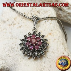Silver pendant in the shape of a Dalia flower with round rubies set and marcasites