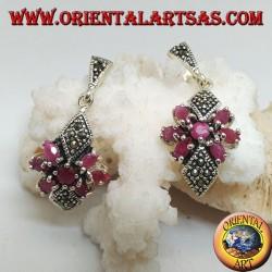 Серебряные серьги с круглым рубином в звезде из натуральных овальных рубинов и двух марказитовых ромбов