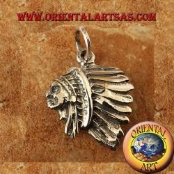 ciondolo testa di Indiano in argento apache