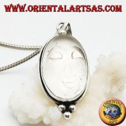 Ciondolo in argento con sole incavato su cristallo di rocca ovale e tre palline sotto