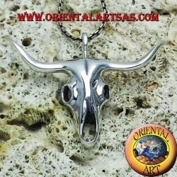 pendente teschio di bufalo in argento