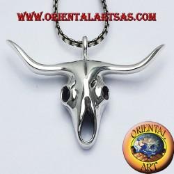buffalo skull pendant in silver