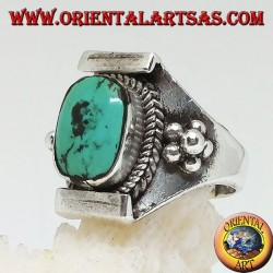 Silver ring with Tibetan antique turquoise on a Nepalese setting and balls on the sides