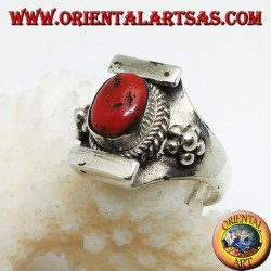 Silver ring with ancient Tibetan coral on a Nepalese setting and balls on the sides