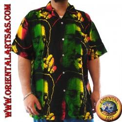 """Camicia """"Bob Marley"""" mentre fuma multicolor in rayon"""