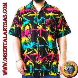 """Camicia """"Bob Marley"""" e foglia di marijuana multicolor in rayon (50)"""