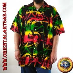 """Camicia """"Bob Marley"""" e foglia di marijuana multicolor in rayon (52)"""