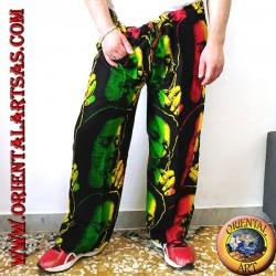 """Pantalon long avec poche """"Bob Marley"""" en fumant multicolore en rayonne"""