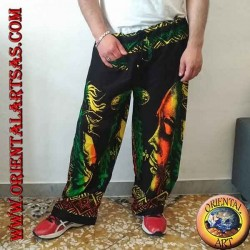 "Long trousers with ""Bob Marley"" pocket and multicolor rayon bong"