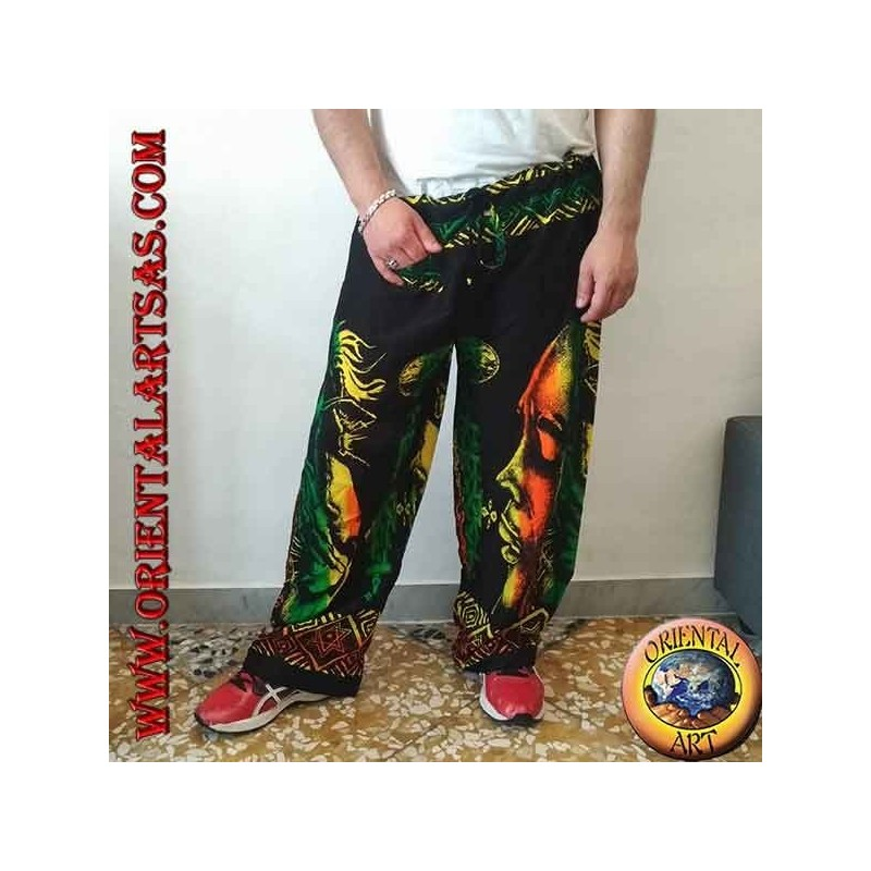 """Long trousers with """"Bob Marley"""" pocket and multicolor rayon bong"""