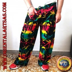 "Long trousers with ""Bob Marley"" pocket and multicolor rayon marijuana leaf"
