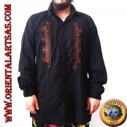Camicia caftano a maniche lunghe con colletto e ricamo frontale (XL)