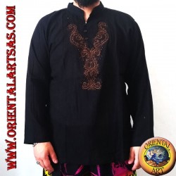 Long-sleeved kaftan shirt with V-neck and 3 buttons and front embroidery (M)