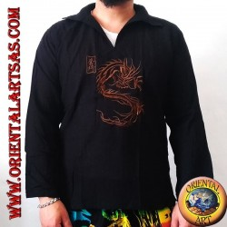Long-sleeved kaftan shirt with Japanese dragon embroidery and V-neck with collar (M)