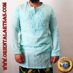 Long-sleeved kaftan shirt with embroidery and V-neck with Korean light blue collar (M)