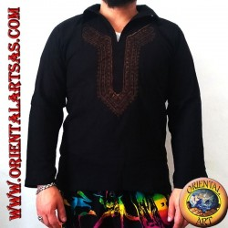 Long-sleeved kaftan sweater with embroidery and V-neck with collar (L)