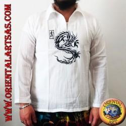 قميص قفطان بأكمام طويلة مع تطريز تنين ياباني ورقبة على شكل حرف V مع ياقة (L)