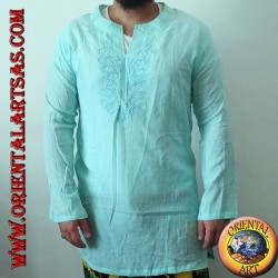 Long-sleeved kaftan shirt with embroidery and V-neck with Korean light blue collar (L)