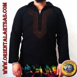 Chemise caftan à manches longues avec broderie et col V avec col (XL)