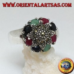 Sunflower silver ring studded with marcasite surrounded by natural rubies, sapphires and emeralds set