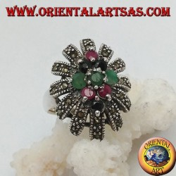 Silver ring with rhombus of emeralds, rubies and natural sapphires in a sun rounded with marcasites