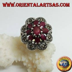 Silver ring with octagonal flower of natural oval rubies set and 8 semicircles of marcasite