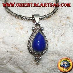 Silver pendant with a lapis lazuli drop cabochon surrounded by intertwining and three balls below