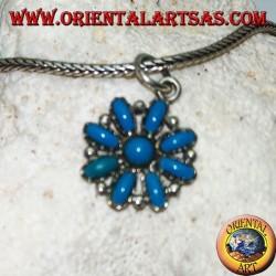 Ciondolo in argento a fiore ottagonale di turchesi ovali e uno tondo al centro