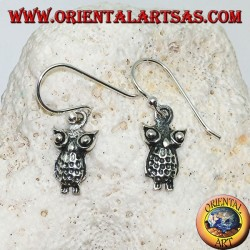 Dangling silver earrings with standing owl with protruding eyes