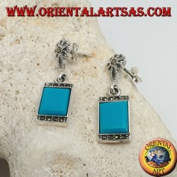 Silver earrings with rectangular turquoise and a row of marcasite stones above and below