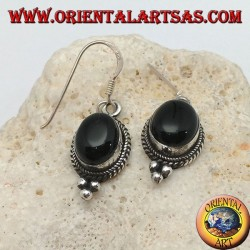 Silver pendant earrings with oval onyx cabochon surrounded by intertwining and three balls below