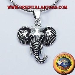 Colgante de la cabeza del elefante en plata