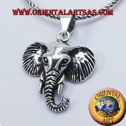 Head Elephant pendant in silver