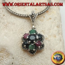 Silver flower pendant with six petals of rubies, emeralds and natural sapphires set and marcasite