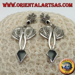 Silver earrings with diamond-shaped onyx and setting with marcasite