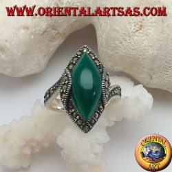 Silver ring with green cabochon shuttle agate surrounded by marcasite and rise on the sides