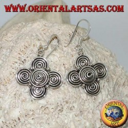 Silver pendant earrings with a cloverleaf of spirals