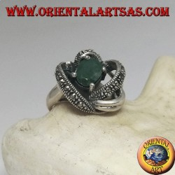 Silver ring with natural oval emerald set wrapped in 3D by threads with maracssite