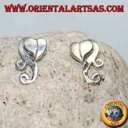 Silver earrings heart with cloud in hippie style lobe