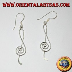 Silver pendant earrings with treble clef or treble clef thread