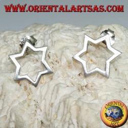 Boucles d'oreilles en argent avec étoile à six branches ou étoile de David percée de lobe