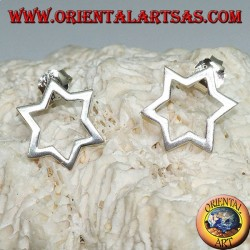Silver earrings with six-pointed star or Star of David pierced by lobe