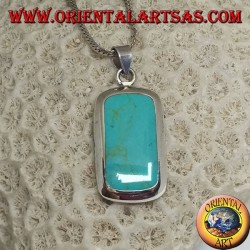 Silver pendant with turquoise and smooth rounded rectangular edge