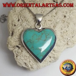Silver pendant with heart-shaped turquoise and smooth edge (double-sided)
