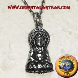 Buddha silver pendant in the position of Dhyana Mudra protected by the cobra