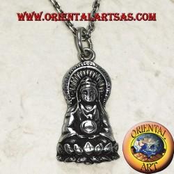 Ciondolo in argento Buddha sul fiore di loto nella posizione del Dhyana Mudra