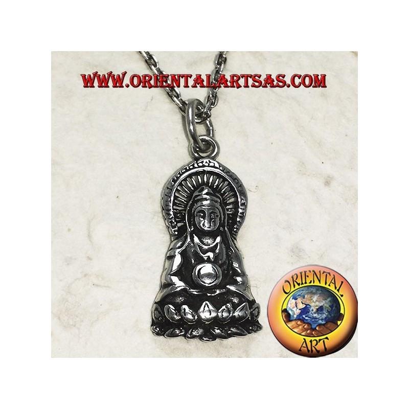 Ciondolo Buddha sul fior di loto in argento