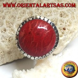 Round silver ring with red madrepora (coral) surrounded by adjustable disks (freesize)