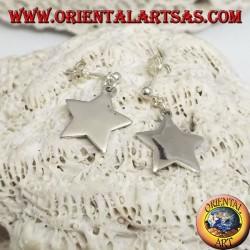Orecchini in argento con pallina a lobo e stella liscia piatta pendente